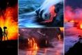 بالصور| مصوران يخاطران بحياتهما بتصوير تدفق البركان في البحر