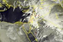 الأقمار الصناعية ترصد السحب الركامية فوق بلاد الشام صباح اليوم ...