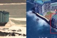شاهد الأمواج العاتية تقتلع شرفات الأبنية بجزر الكناري