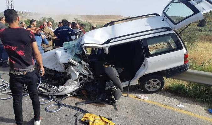 حالات وفاة وإصابات حرجة في حادث سير مروّع غرب نابلس