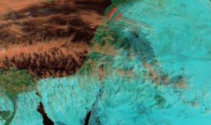 الغيوم الريشية العاليه في سماء فلسطين كما رصدتها أقمار وكالة ناسا هذا اليوم