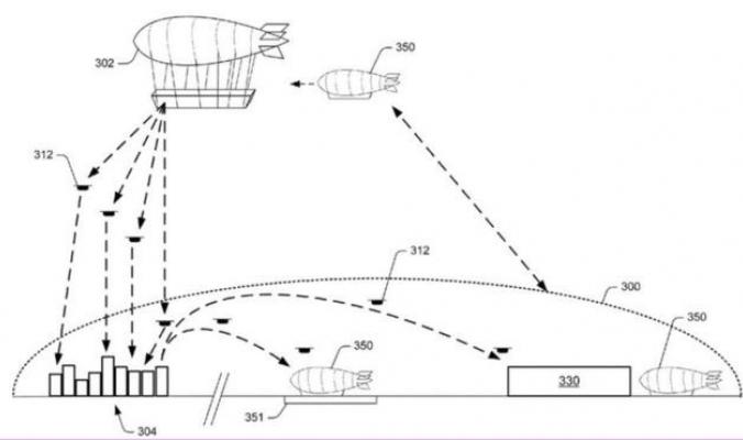 أمازون تقدم تصورا لمشروع تخزين البضائع في السماء