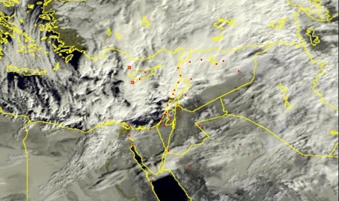المنخفض الجوي العميق يتمركز غرب قبرص ...أمطار غزيرة في الشمال والخير قادم لمعظم المناطق بمشيئة الله !