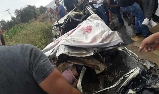 بالصور المروعة: ثلاثة ضحايا في حادث سير مميت ومؤسف على طريق نابلس- جنين