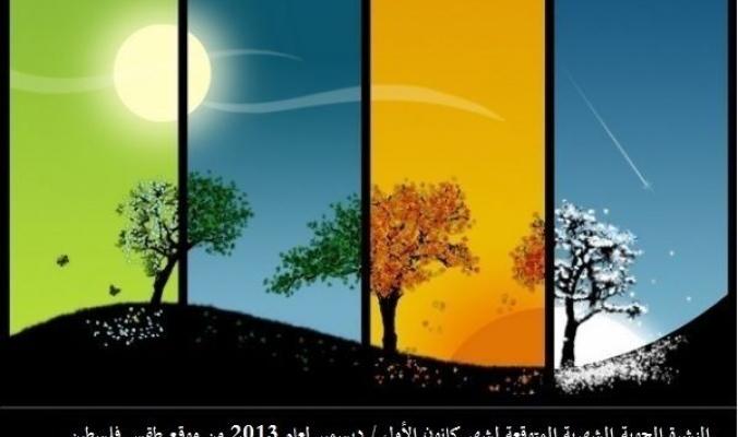 موقع طقس فلسطين يصدر النشرة الشهرية لشهر كانون الأول / ديسمبر من عام 2013