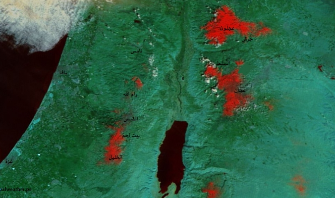 ثلوج عاصفة الدامون كما ظهرت عبر الأقمار الصناعية صباح الأحد 22/2/2015