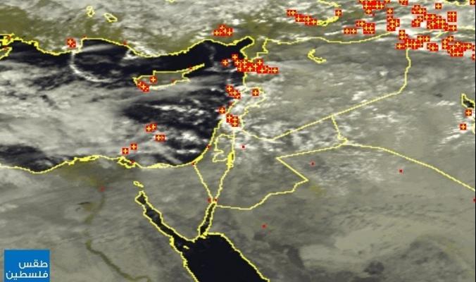 الأقمار الصناعية تظهر المزيد من السحب الماطرة التي تتقدم صوب فلسطين | 1/11/2014