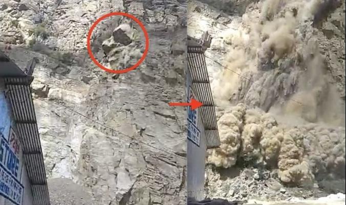 بالفيديو .. انتظروا انهياراً جبلياً بالكاميرات ثم هربوا من صخوره المتطايرة