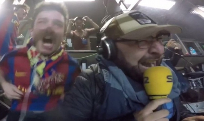 """شاهد الفيديو.. معلق كاتالوني """"يفقد عقله"""" في ليلة برشلونة المجنونة"""
