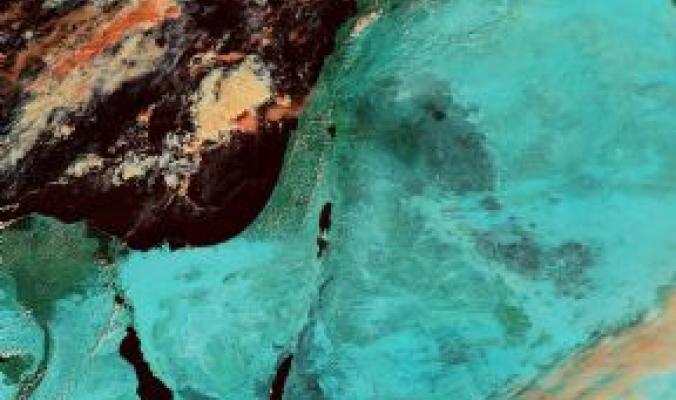 فلسطين كما ظهرت عبر احد اقمار وكالة ناسا للفضاء اليوم