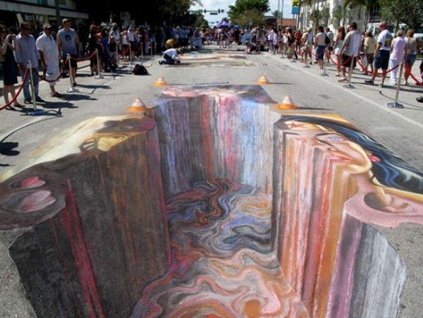الرسم ثلاثى الابعاد على الأرض......إبداع يفوق الخيال