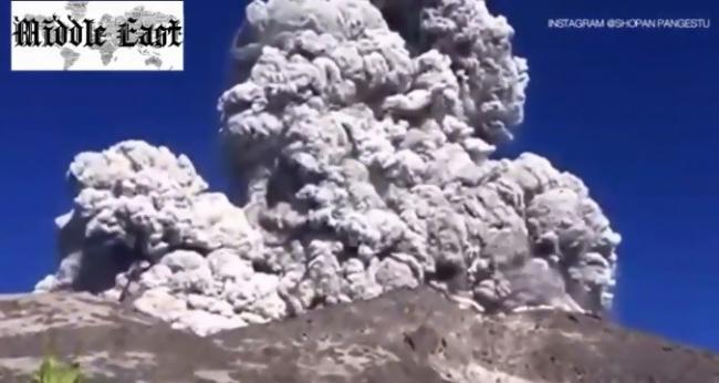 مشهد مخيف ...شاهد كيف داهم هذا البركان عددا من المخيمين أثناء وجبة إفطارهم !