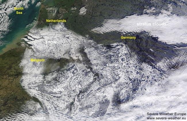 أقمار وكالة ناسا ترصد الثلوج التي تغطي أجزاء واسعة من أوروبا