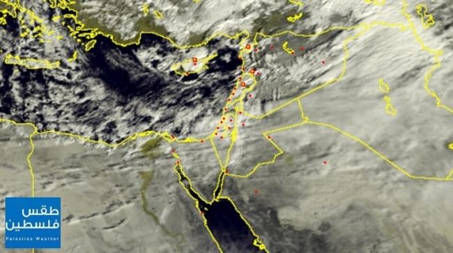 الأقمار الصناعية صبيحة اليوم ترصد الغيوم الماطرة المتوافدة صوب المناطق الفلسطينية