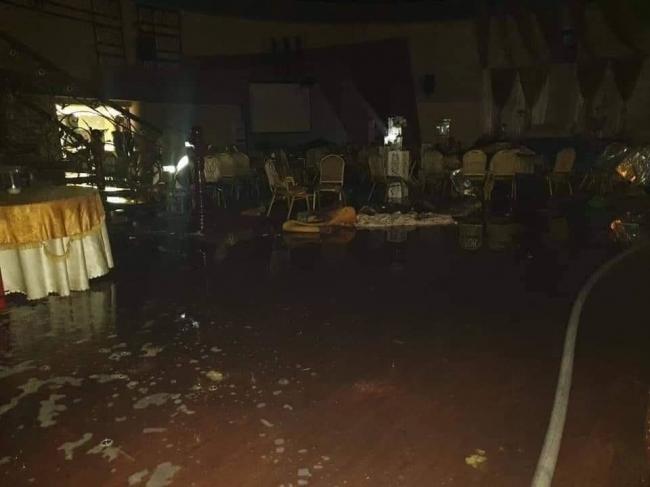 بالصور.. حريق في قاعة زفاف في نابلس هذه الليلة