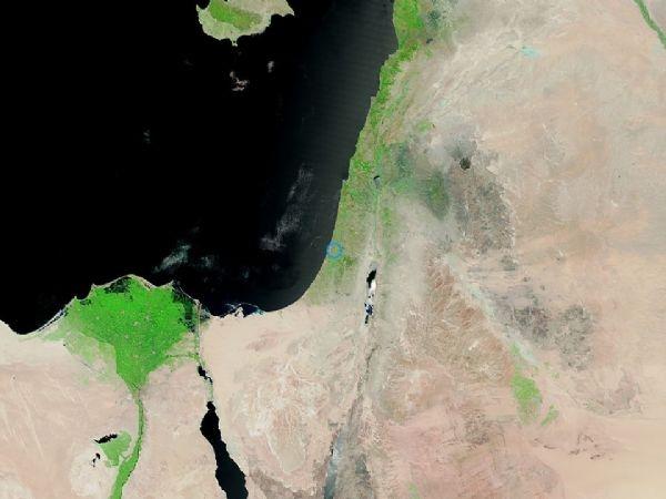 فلسطين والأردن عبر الأقمار الصناعية اليوم