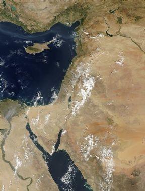 فلسطين والمنطقة عبر الاقمار الصناعيه اليوم