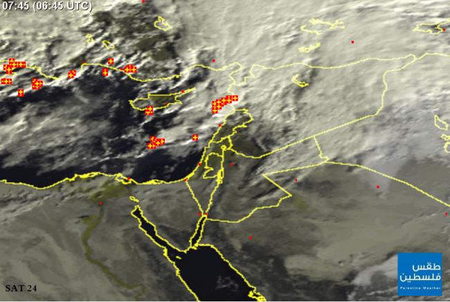 """طلائع المنخفض""""حطين"""" عبر خرائط الأقمار الصناعيه صباح اليوم الأربعاء تصل شمال غرب بلاد الشام"""