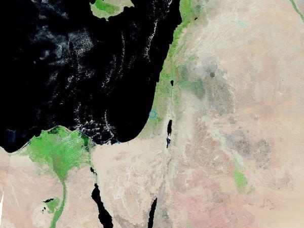 لوحة ربانية لسماء فلسطين وجنوب بلاد الشام من ارتفاع 721 كيلومتر