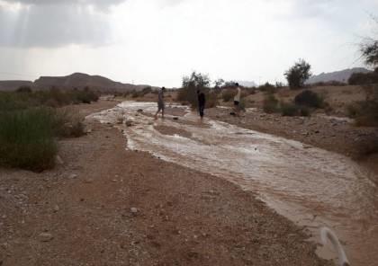 بالصور... فيضانات في وادي عربة وجنوب فلسطين