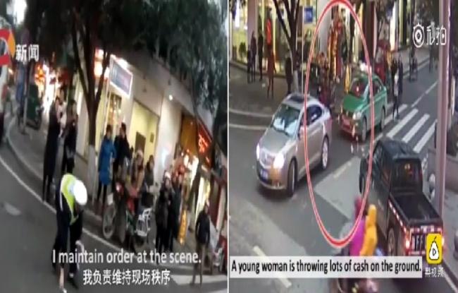 ثرية صينية تنفّس عن غضبها برمي النقود في الشارع