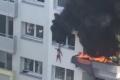 مشهد مروع لقفز طفلين من الطابق الثالث هربا من النيران (شاهد)