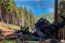 """فيديو يُظهر اللحظات الأولى لكارثة سقوط """"التلفريك"""" الإيطالي.. ارتد بسرعة ..."""