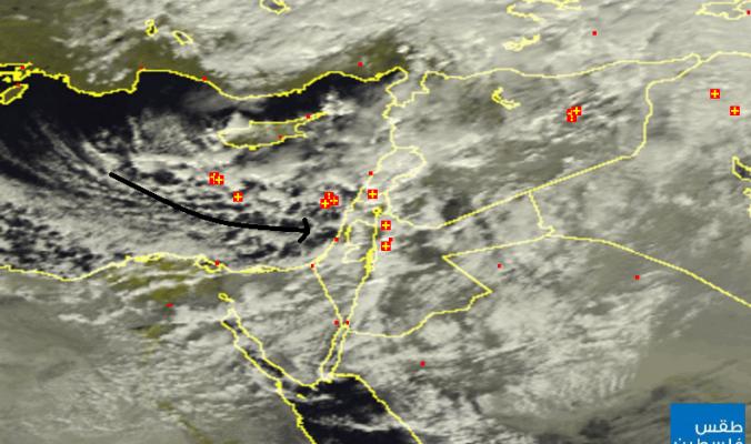 الاقمار الصناعيه ترصد غيوم ديشوم القادمة نحو فلسطين بمشيئة الله تعالى