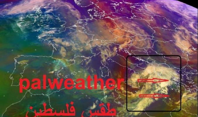 بداية تشكل المنخفض الجوي القادم عبر الأقمار الصناعية