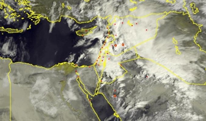 الأقمار الصناعية ترصد السحب الركامية فوق بلاد الشام صباح اليوم 1/3/2017