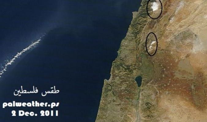 الأقمار الصناعيه تظهر ثلوج جبل الشيخ والجبال اللبنانية بوضوح