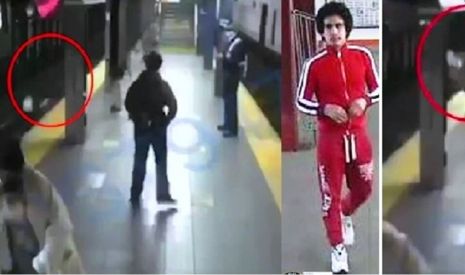 شاهد... أحدهم يدفع امرأة إلى عجلات قطار مسرع بنيويورك