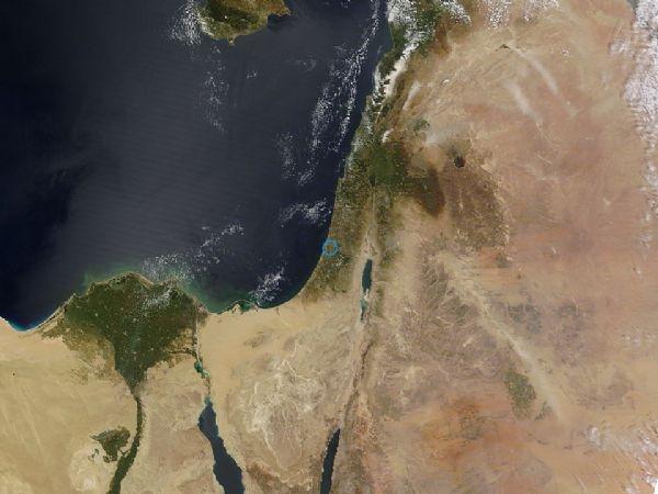 فلسطين من الاقمار الصناعية اليوم