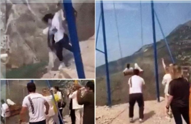 فيديو لسقوط فتاتين من أرجوحة فوق قمة جرف عالية! نجتا بأعجوبة من الموت