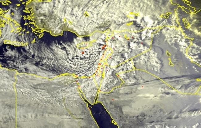 الأقمار الصناعية ترصد الغيوم الماطرة والمثلجة المرافقة لمنخفض أجنادين