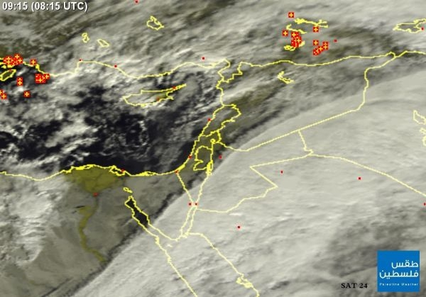 صورة الأقمار الصناعيه اليوم الاثنين 28/1/2013 ، سحب ضخمة جنوب شرق المنطقة وسحب وافدة من البحر صوب فلسطين