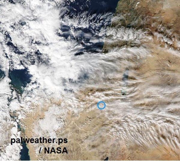 صورة طبيعيه من وكالة ناسا لفسطين وجوارها